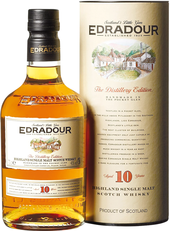 Edradour 10 Years Old Highland Single Malt Scotch Whisky w tubie